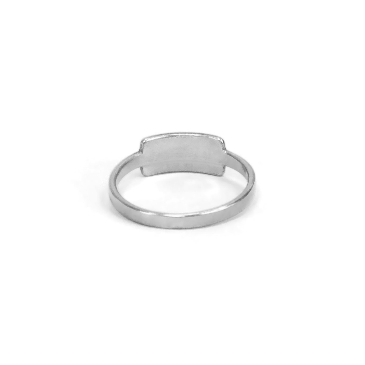 Silver handwriting ring with your handwritten note, shown from the back