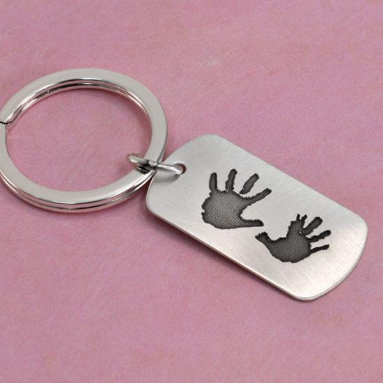 Custom Hand prints on a key ring