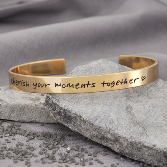 Gold handwriting cuff bracelet