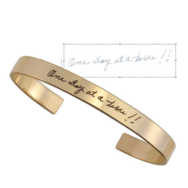 Gold handwriting cuff bracelet with original writing