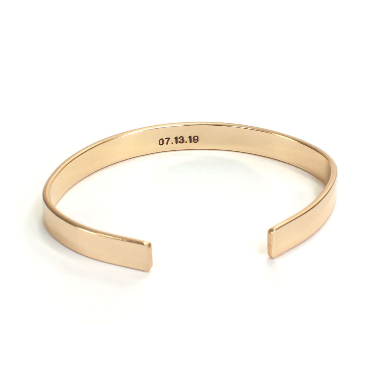 Gold handwriting cuff bracelet , shown with optional stamping on the back/inside