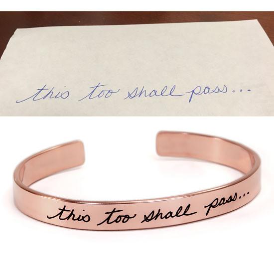 Handwriting cuff bracelet in rose gold