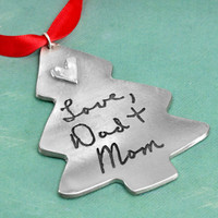 Personalized Christmas Tree Handwriting Ornament with handwritten note