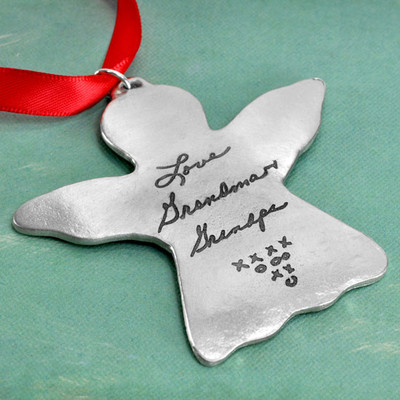 Handwriting Angel Ornament in fine pewter
