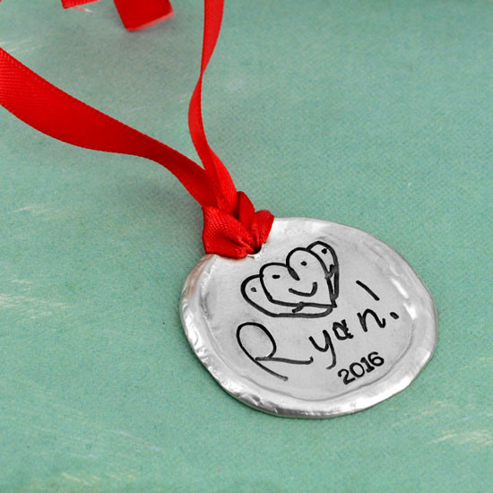 Custom ornament with your child's artwork