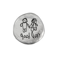 Your handwriting and artwork on a fine pewter pocket charm. shown on white