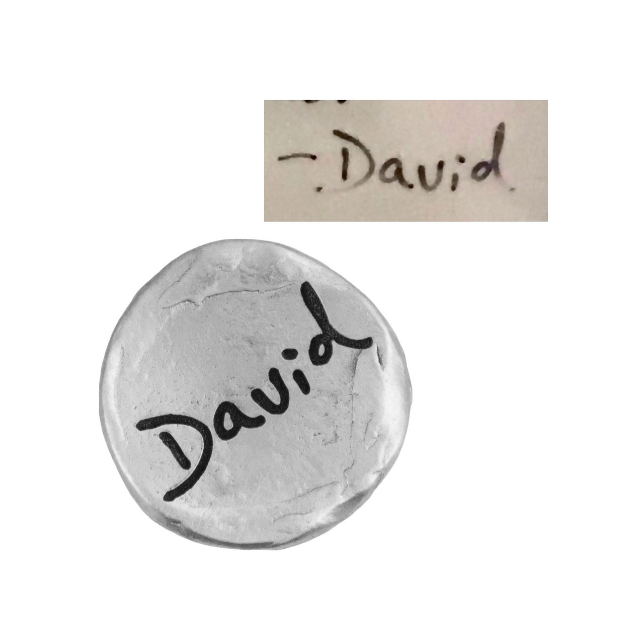 Your handwriting on a fine pewter pocket charm, shown on white, with the original handwriting