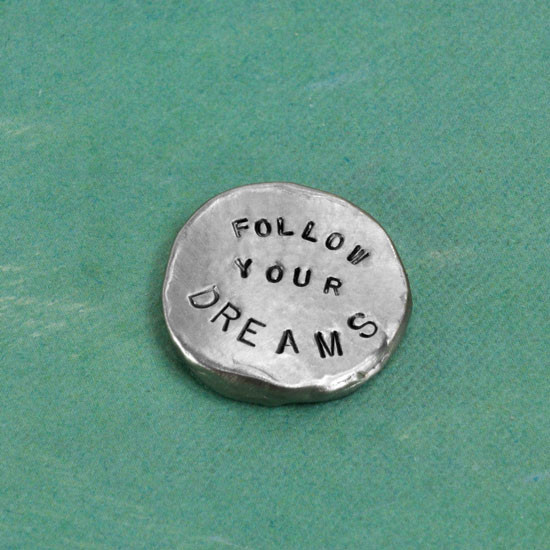 Fine Pewter Nugget personalized pocket token with inspiring message, shown from an angle