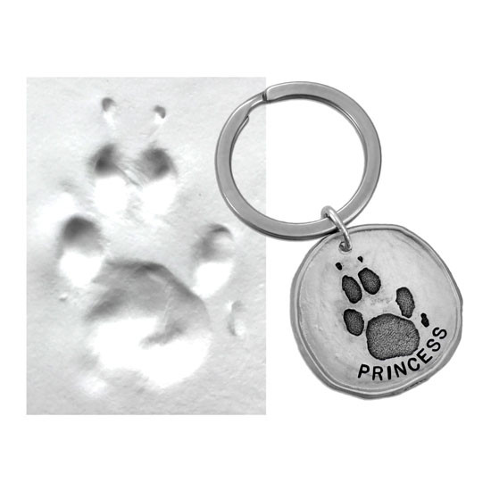 Custom paw print pewter key ring, made with your pet's actual paw print, shown with original pawprint