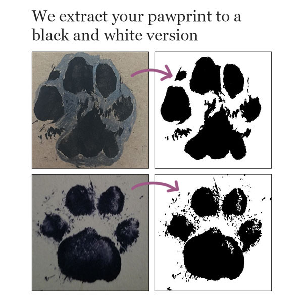 We convert your  pawprint to black and white