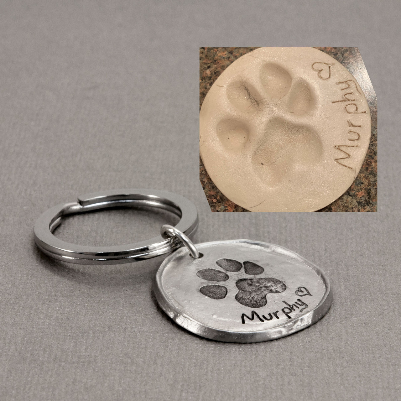 Custom paw print key ring pewter, made with your pet's actual pawprint