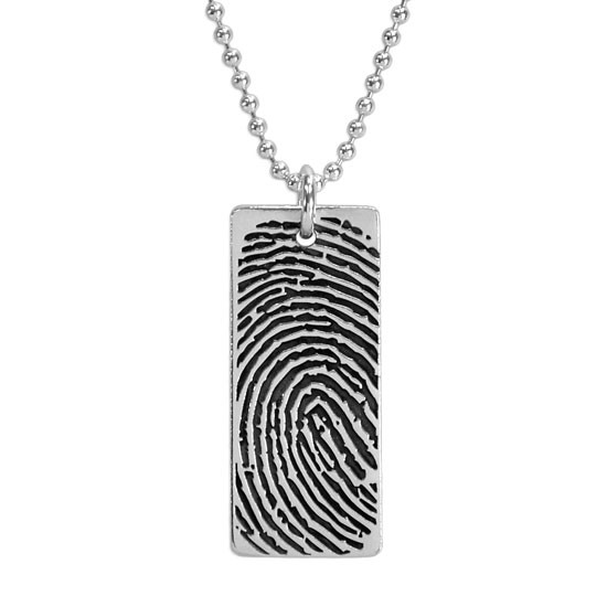 Custom Silver fingerprint necklace, personalized with your loved one's fingerprint