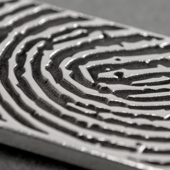Close up of Custom Silver fingerprint memorial necklace