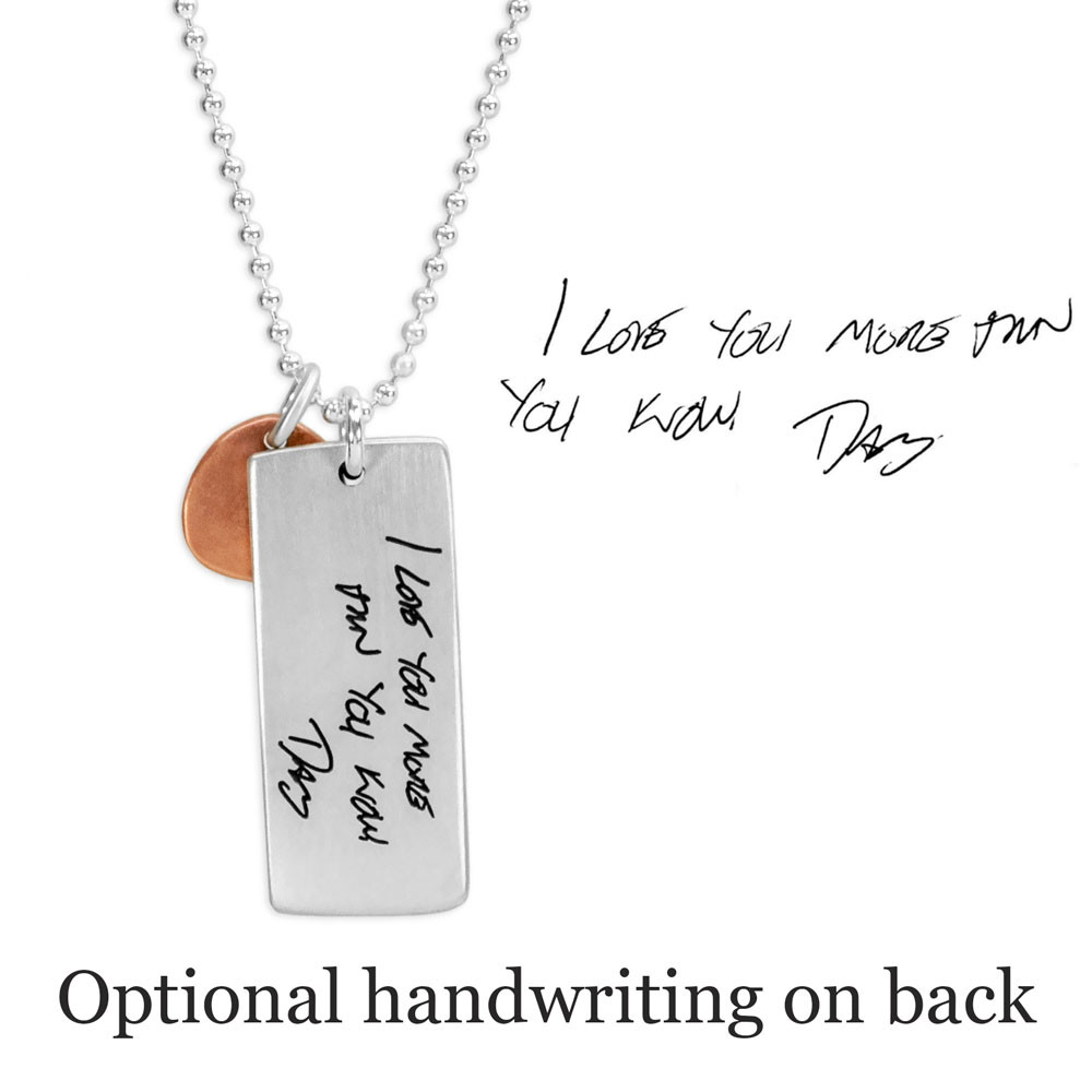 Custom Silver fingerprint necklace, personalized with your loved one's fingerprint, with optional handwriting on the back