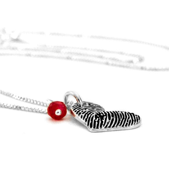 Silver Fingerprint heart necklace