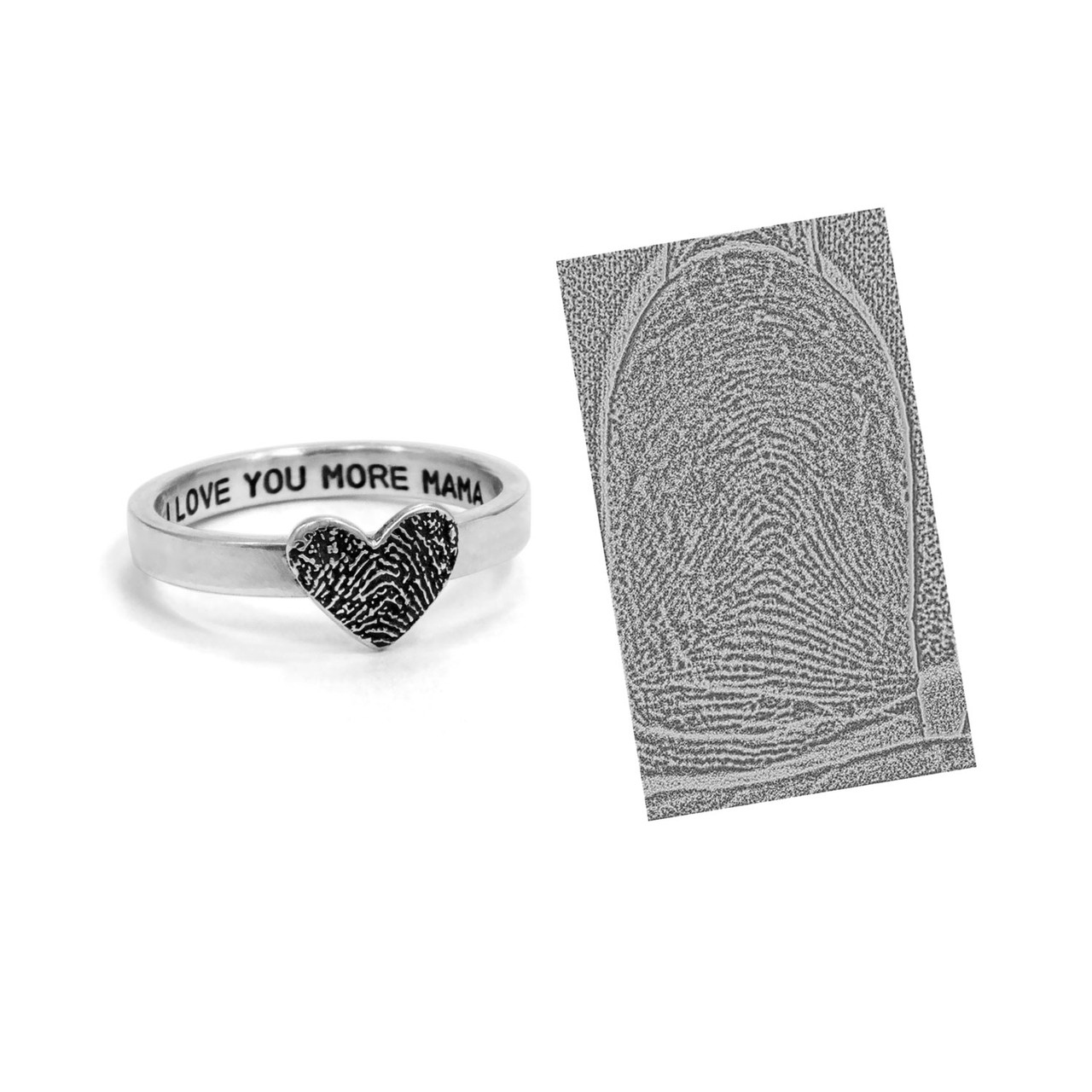 custom heart shaped fingerprint jewelry ring in sterling silver, shown on with original fingerprint