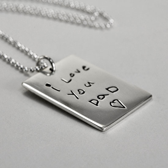 Silver handwriting necklace for man