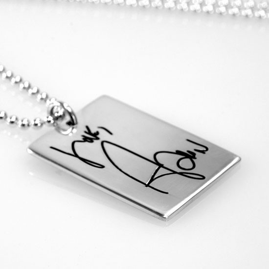 Handwritten note on sterling silver necklace
