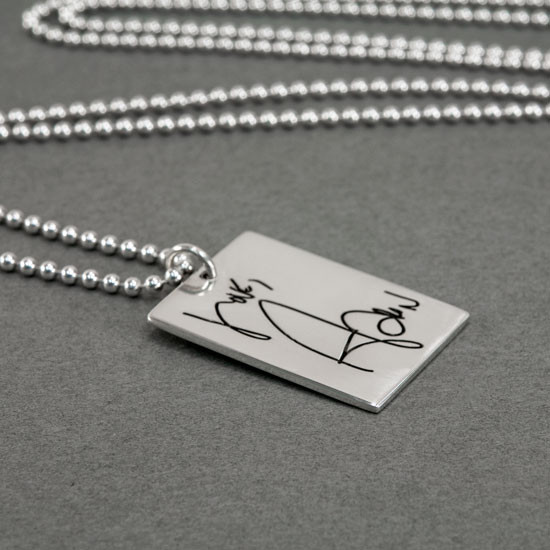 Handwritten note on sterling necklace for mom