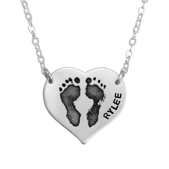 heart d products sterling silver and engraved name pendant shaped chain necklace footprint