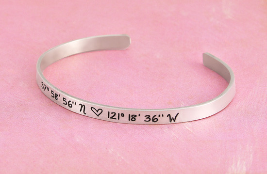 Custom coordinates cuff bracelet for her