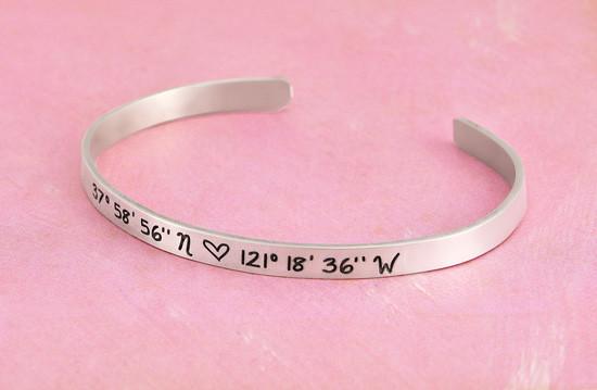 Silver custom coordinates cuff bracelet for her
