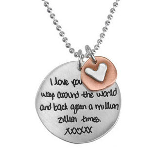 Memorial handwriting jewelry necklace