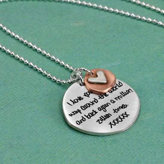 Memorial necklace with handwriting