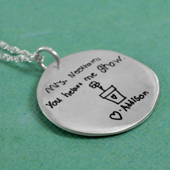 Handwritten necklace teacher gift