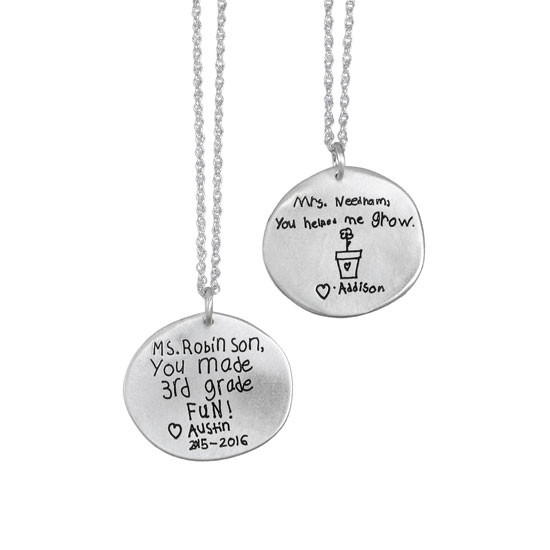 Kid's handwriting on necklace