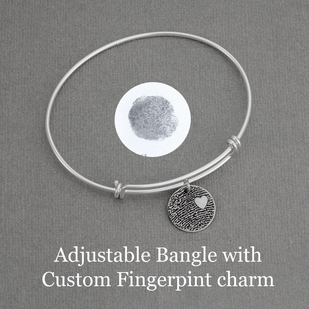 Adjustable Bangle with Custom Fingerprint Charm
