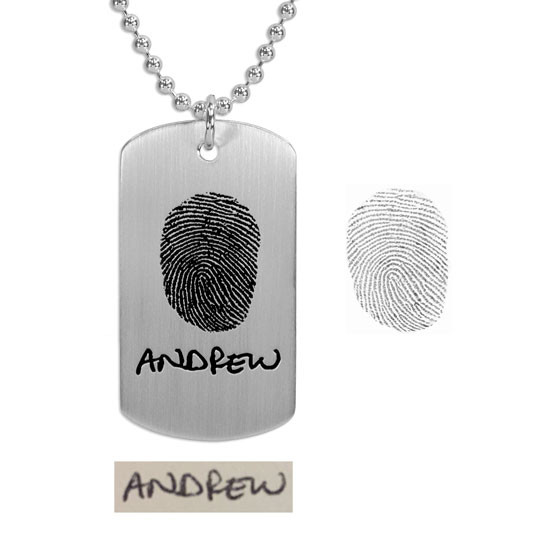 Handwritten name on fingerprint necklace