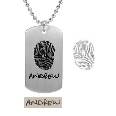 Handwritten name on fingerprint necklace