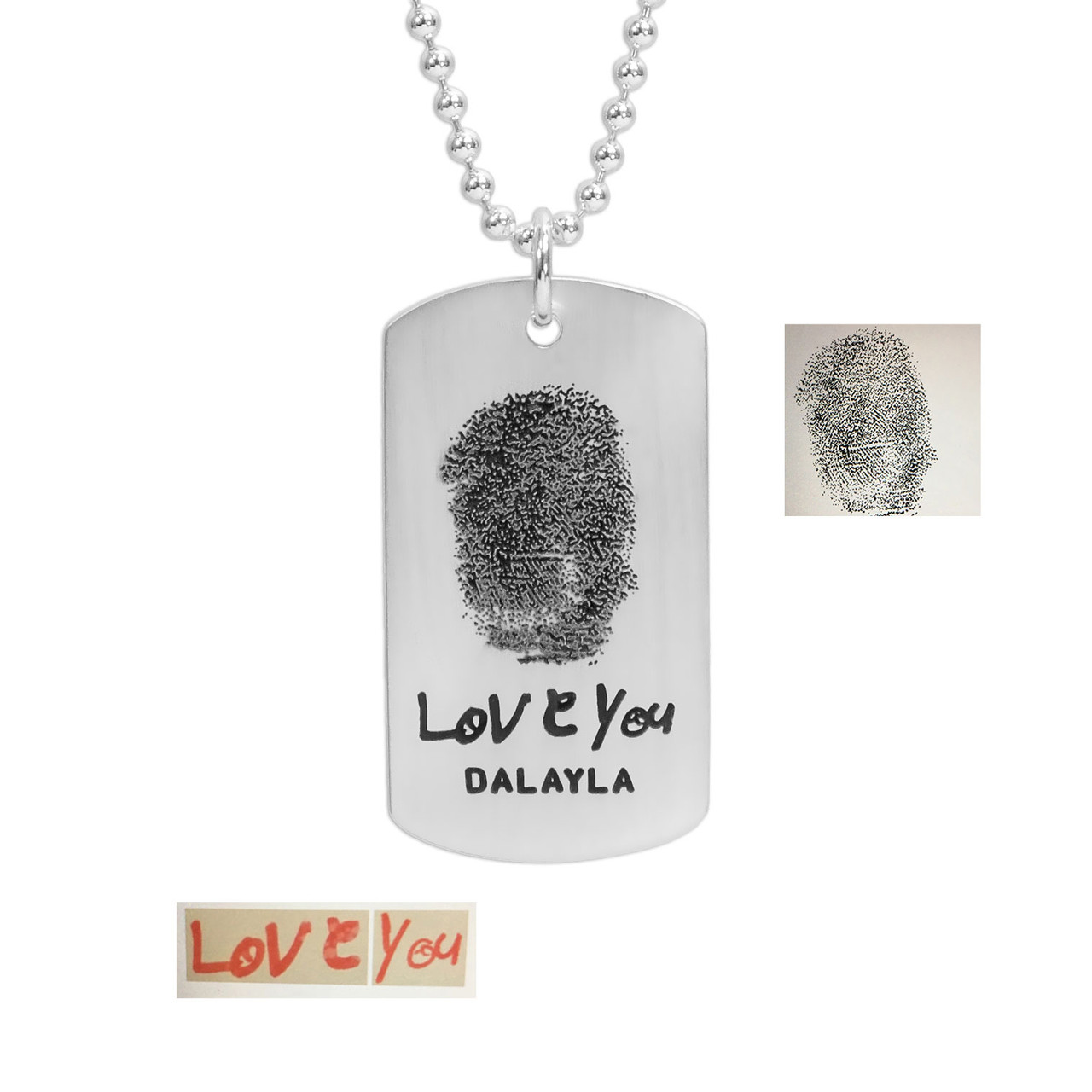 Name and fingerprint on silver military tag necklace, with the original handwriting & fingerprint used to create it