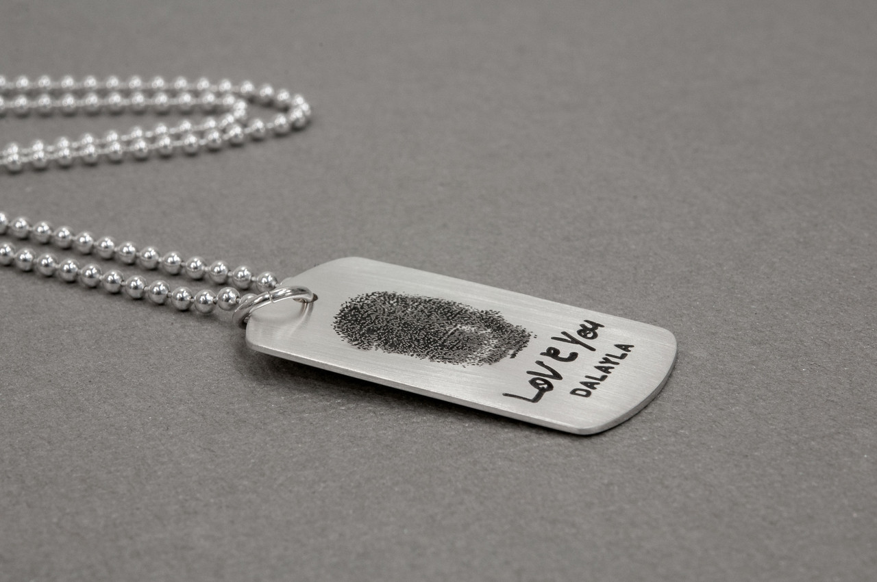 etched fingerprint on silver military tag necklace
