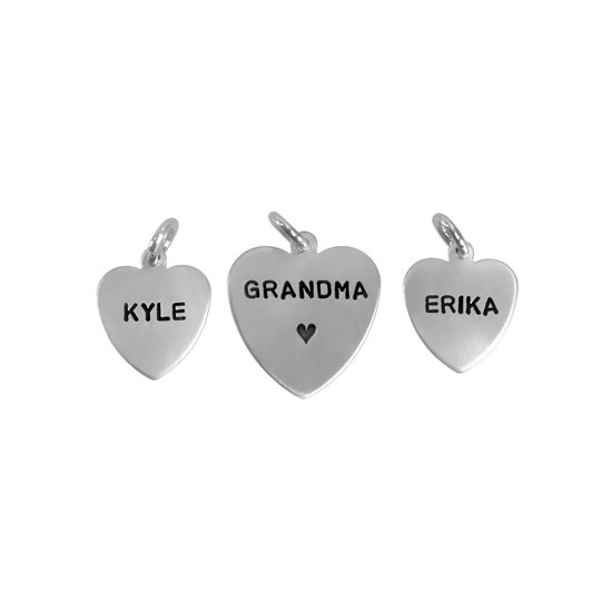 "Hand stamped sterling silver heart charms in 1/2"" and 5/8"""