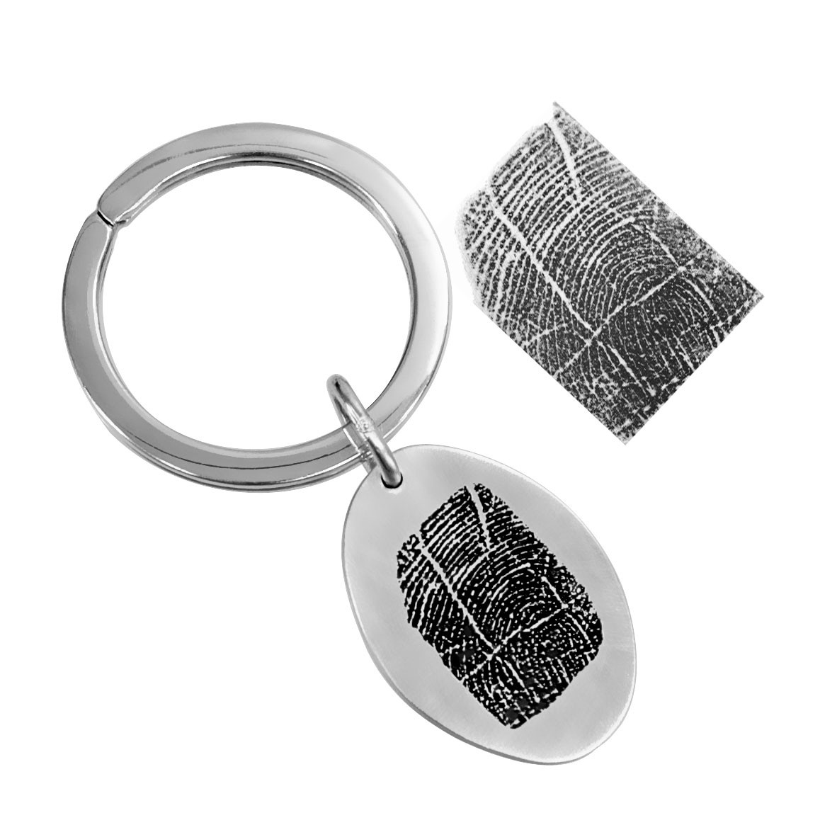 fingerprint key ring memorial in sterling silver on a white background. shown with the original fingerprint
