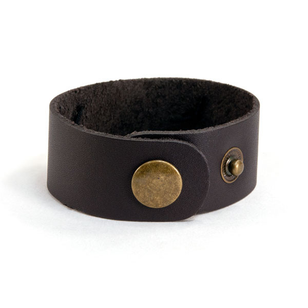 Back of handwriting leather bracelet with actual handwriting shown on white background