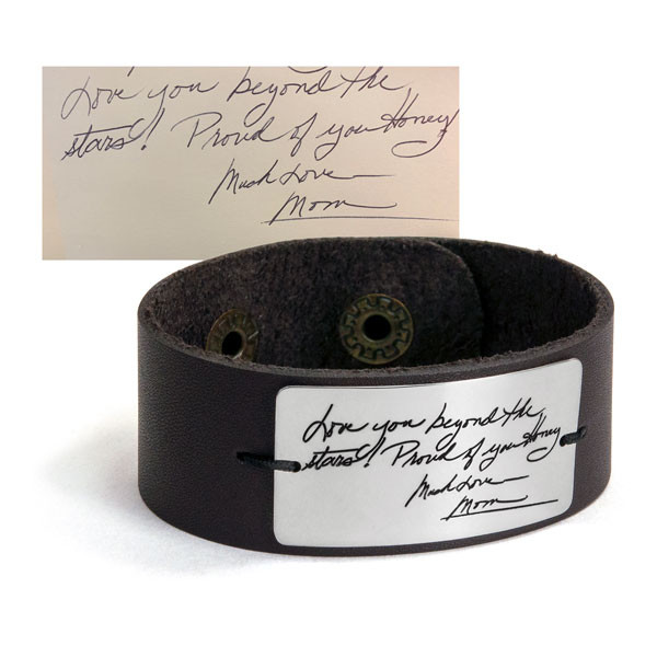 Handwriting leather bracelet with actual handwriting shown on white background, including the original handwriting