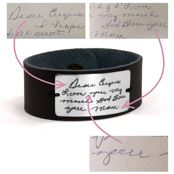 Handwriting leather bracelet with actual handwriting shown on white background