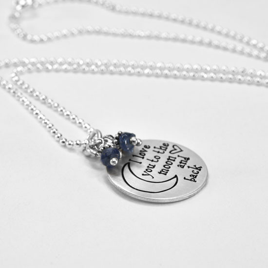 Moon and back necklace with sapphire stones