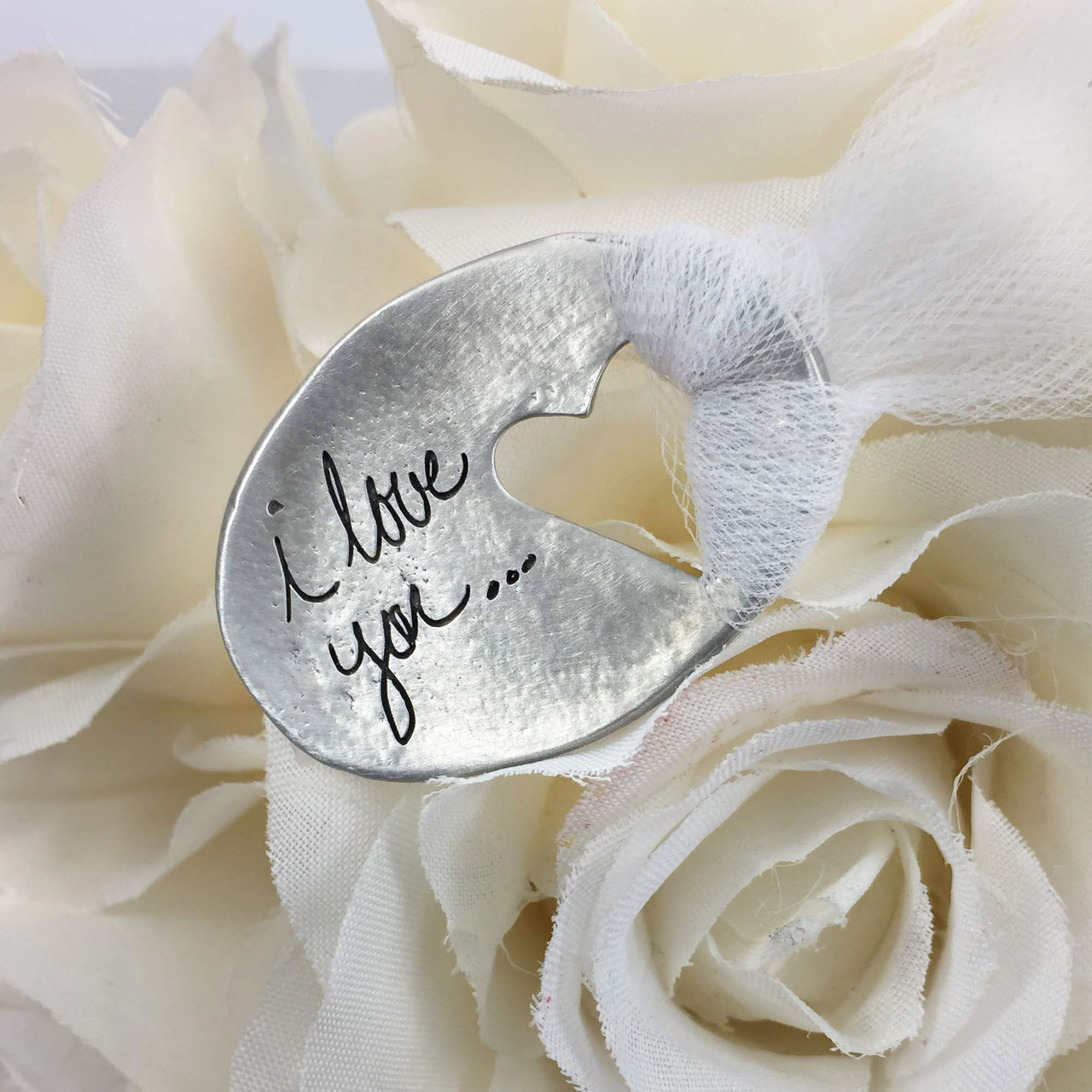 Custom handwriting on a bouquet charm