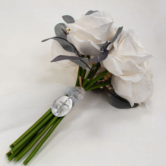 Custom signature on bouquet charm with cross