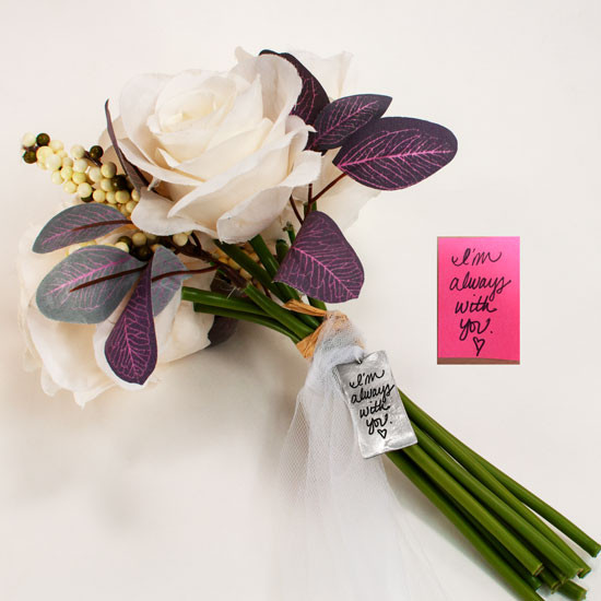 Actual handwriting from loved one on bouquet charm for wedding