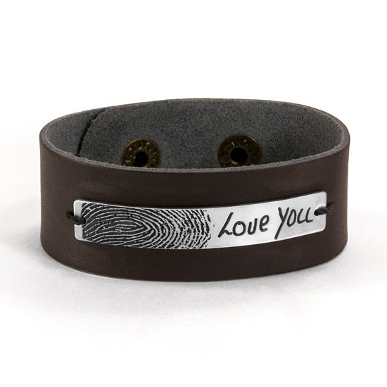 Memorial fingerprint leather bracelet for man