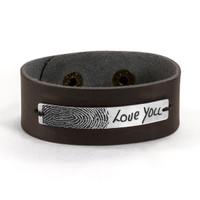 Memorial fingerprint leather bracelet for man