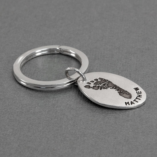 Sterling silver oval footprint keychain memorial