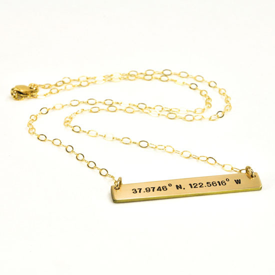 Coordinates bar necklace in gold