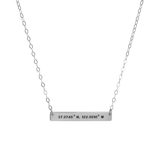 Coordinates bar necklace in silver