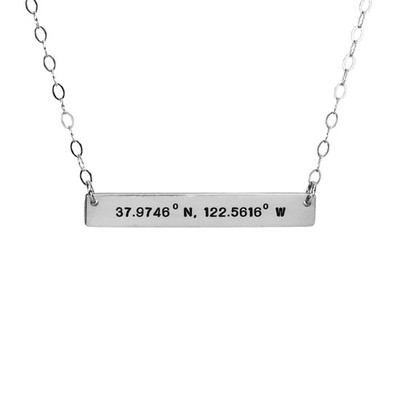 Hand stamped Coordinates bar necklace in silver